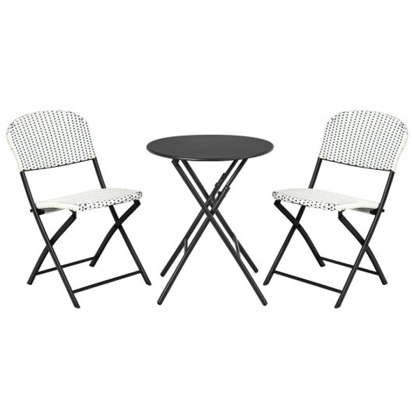 3PCS Patio Rattan Bistro Set with Round Dining Table and 2 Chairs