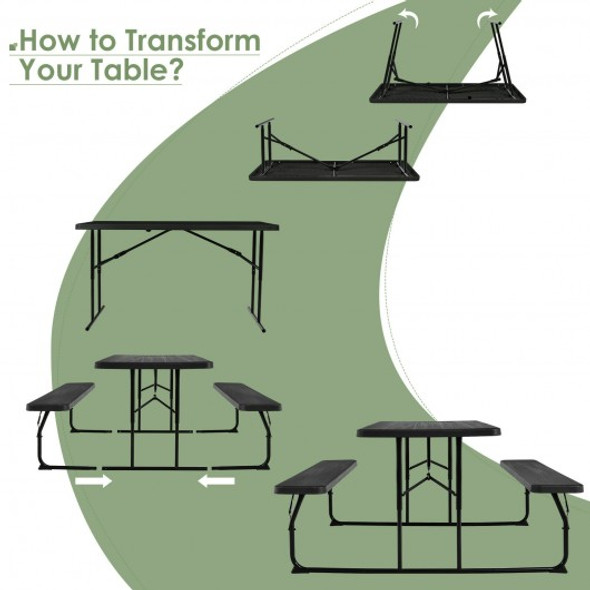 Indoor and Outdoor Folding Picnic Table Bench Set with Wood-like Texture-Black