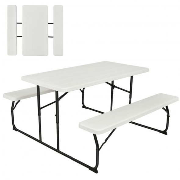 Indoor and Outdoor Folding Picnic Table Bench Set with Wood-like Texture-White