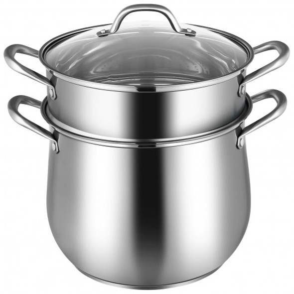 2-Tier Steamer Pot Saucepot Stainless Steel with Tempered Glass Lid