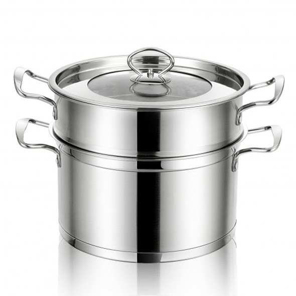 2-Tier Steamer Pot 304 Stainless Steel Steaming Cookware with Glass Lid