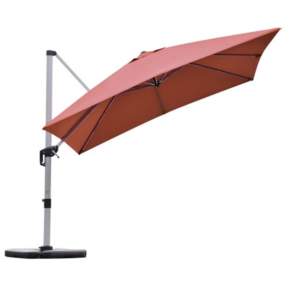 10 ft 360 Degree Tilt Aluminum Square Patio Offset Cantilever Umbrella without Weight Base