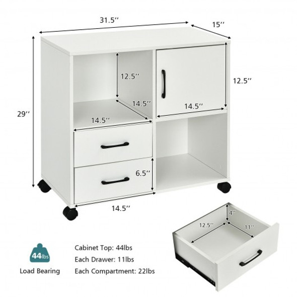 Mobile File Cabinet with Lateral Printer Stand and Storage Shelves -White