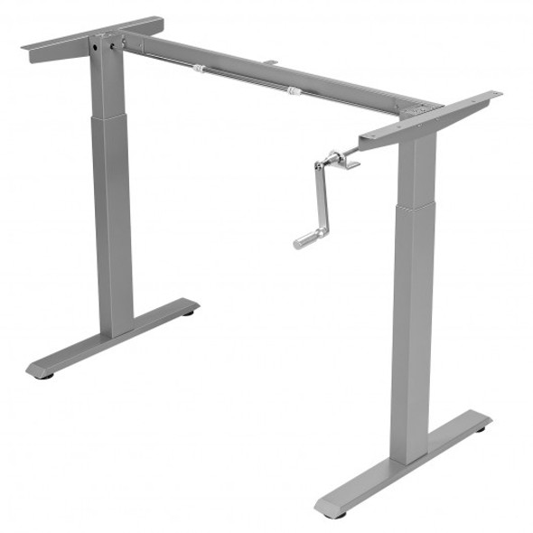 Hand Crank Sit to Stand Desk Frame Height Adjustable Standing Base-Gray