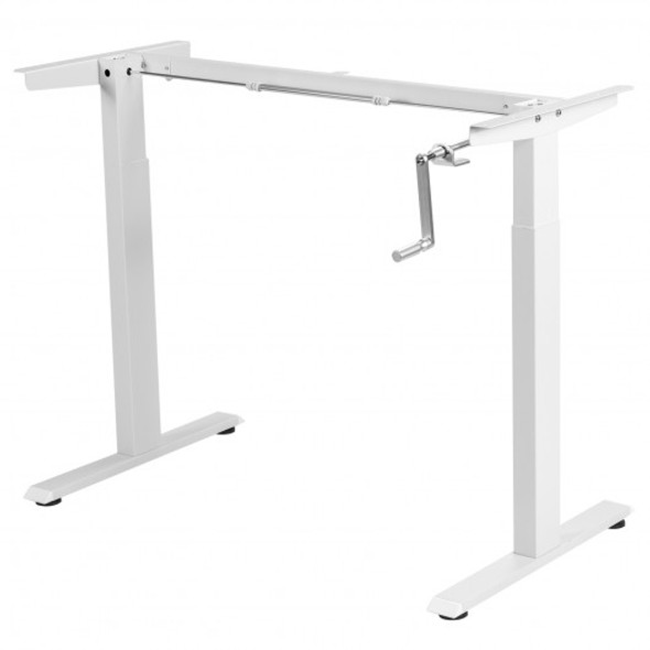 Hand Crank Sit to Stand Desk Frame Height Adjustable Standing Base-White