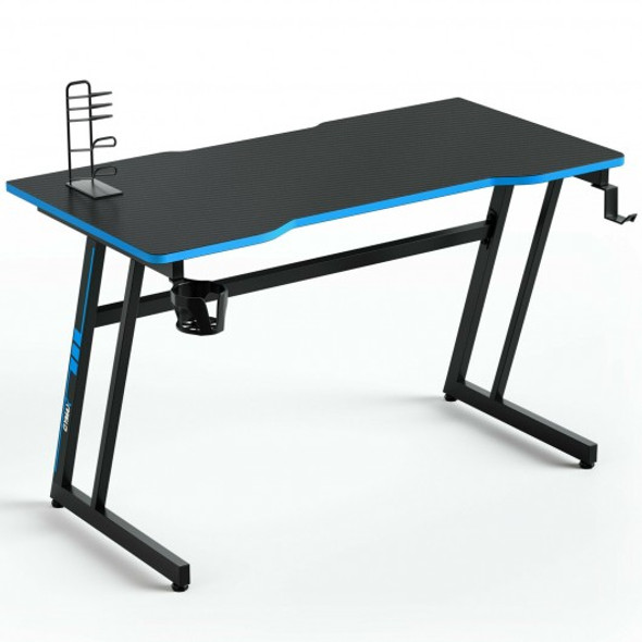 47.5 Inch Z-Shaped Computer Gaming Desk with Handle Rack-Blue