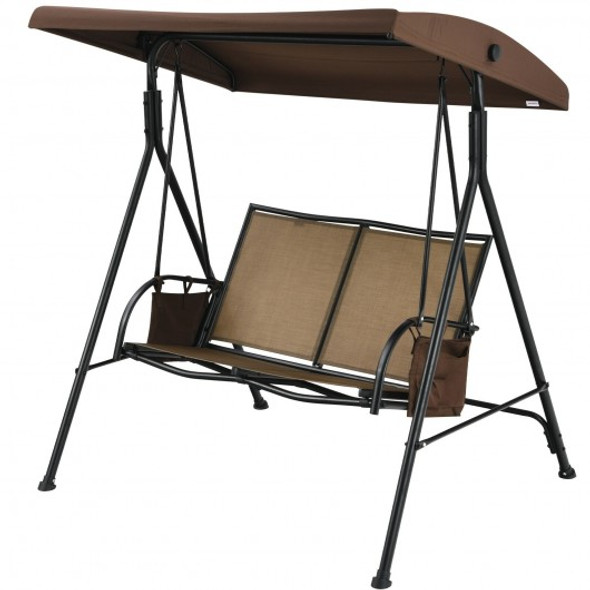 2 Seat Patio Porch Swing with Adjustable Canopy Storage Pockets Brown