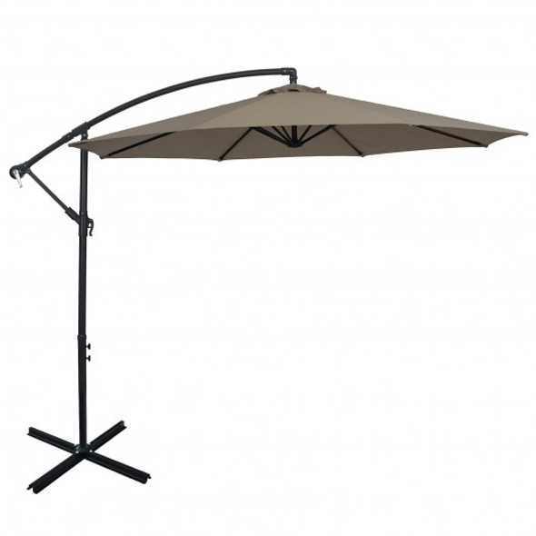 10FT Offset Umbrella with 8 Ribs Cantilever and Cross Base Tilt Adjustment-Brown
