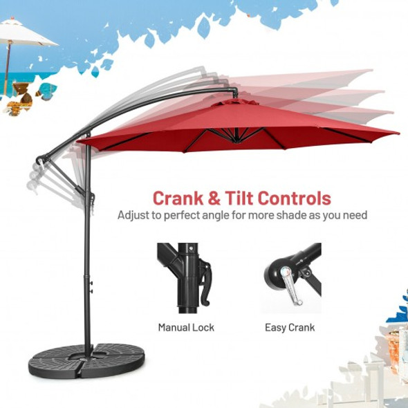 10FT Offset Umbrella with 8 Ribs Cantilever and Cross Base Tilt Adjustment-Red