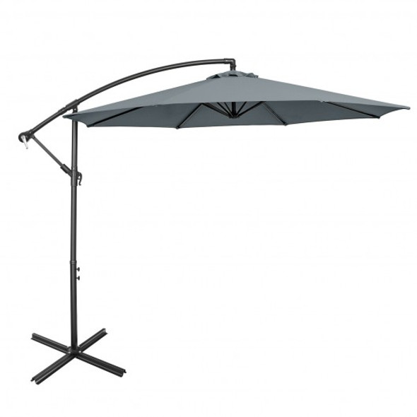 10FT Offset Umbrella with 8 Ribs Cantilever and Cross Base Tilt Adjustment-Gray
