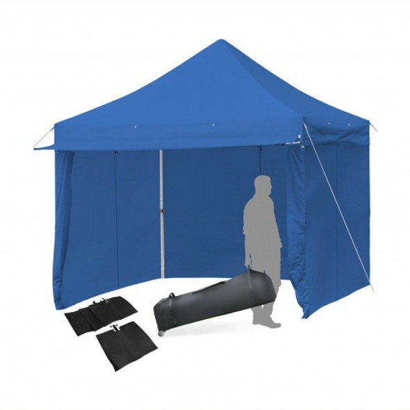 10x10ft Pop up Gazebo with 4 Height and Adjust Folding  Awning -300' Blue
