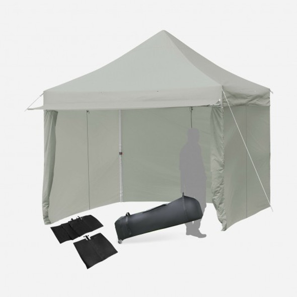 10x10ft Pop up Gazebo with 4 Height and Adjust Folding  Awning -Gray