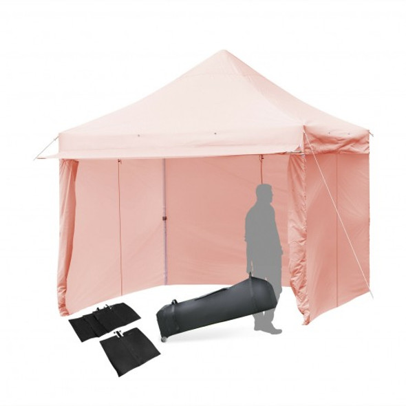 10x10ft Pop up Gazebo with 4 Height and Adjust Folding  Awning -Pink