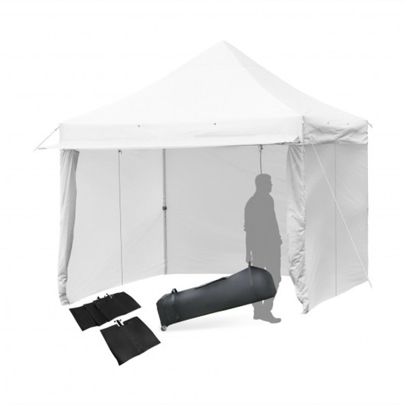 10x10ft Pop up Gazebo with 4 Height and Adjust Folding  Awning -White