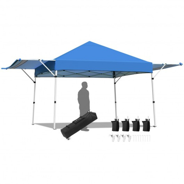 17 Feet x 10 Feet Foldable Pop Up Canopy with Adjustable Instant Sun Shelter-Blue