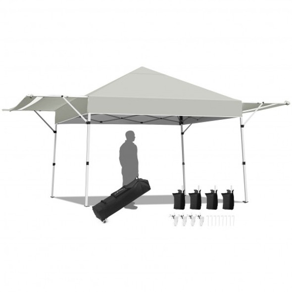 17 Feet x 10 Feet Foldable Pop Up Canopy with Adjustable Instant Sun Shelter-Gray