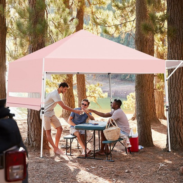 17 Feet x 10 Feet Foldable Pop Up Canopy with Adjustable Instant Sun Shelter-Pink