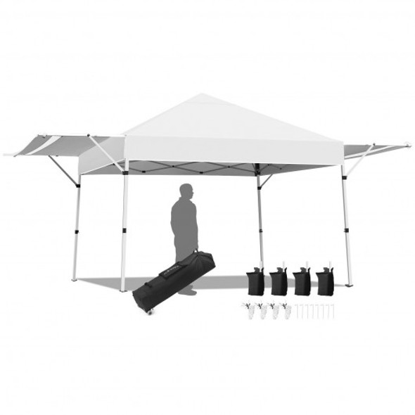 17 Feet x 10 Feet Foldable Pop Up Canopy with Adjustable Instant Sun Shelter-White