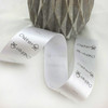 Silver grey satin ribbon garment labels with black ink