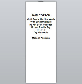 100% Cotton Cold wash Hot iron Clothing Labels by Ted + Toot labels