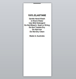 100% Elastane Clothing Labels by Ted + Toot labels