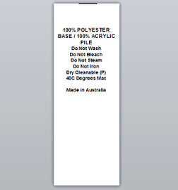 100% Polyester base / 100% Acrylic pile Clothing Labels by Ted + Toot labels