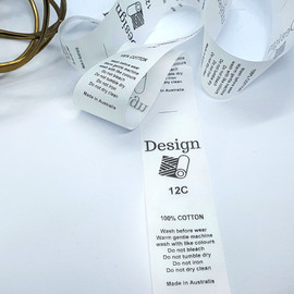 Microfibre garment labels with care instructions and sizes