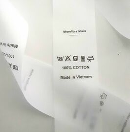 Microfibre custom printed washing care garment labels