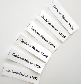 Iron-on product labels with sequential numbering - sequence of numbers, identification numbers in order
