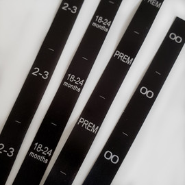 Black satin custom order size labels