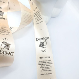 Pink satin labels logo size care