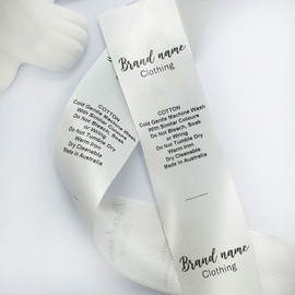Recycled satin logo care labels