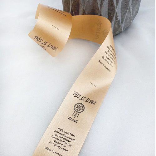 Copper satin ribbon garment labels with black ink
