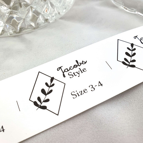 Iron on labels with sizes