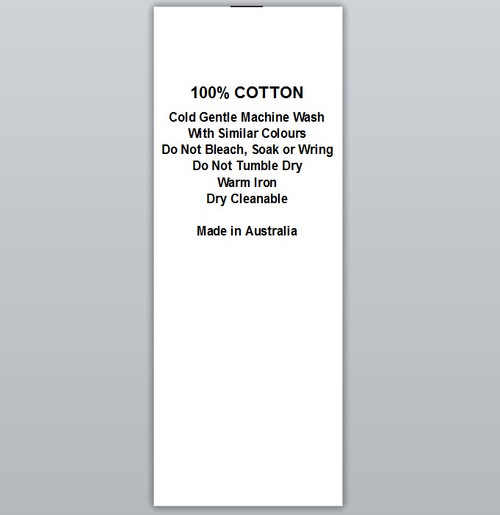 100% Cotton Cold wash Warm iron