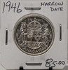 1946 CIRCULATION 50 - CENT COIN - NARROW DATE - UNGRADED - AS PICTURED