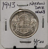 1943 CIRCULATION 50 - CENT COIN - NARROW DATE NEAR 3 - UNGRADED - AS PICTURED