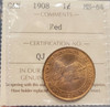 1908 CANADA CIRCULATION 1 CENT MS-64 - RED