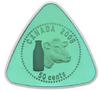 2008 50-CENT ENAMEL COLOURIZED COIN ODD SHAPED TRIANGLE MILK DELIVERY TOKEN