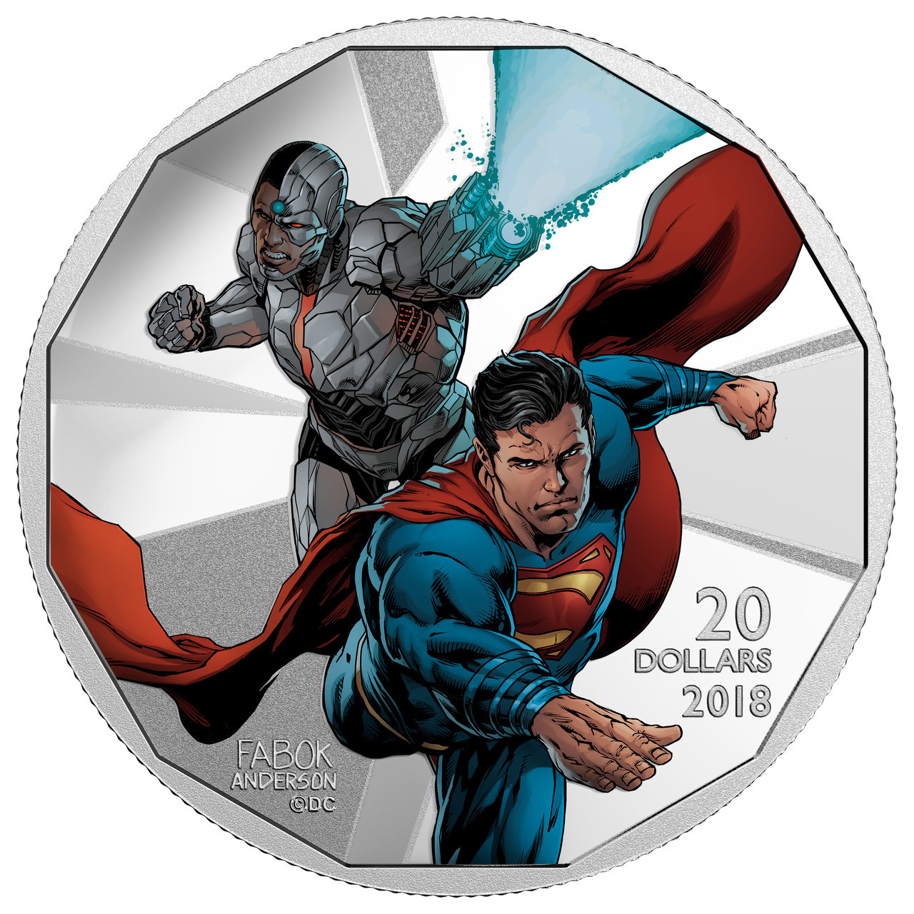 2018 $20 1OZ FINE SILVER COIN THE JUSTICE LEAGUE CYBORG AND SUPERMAN No 162337
