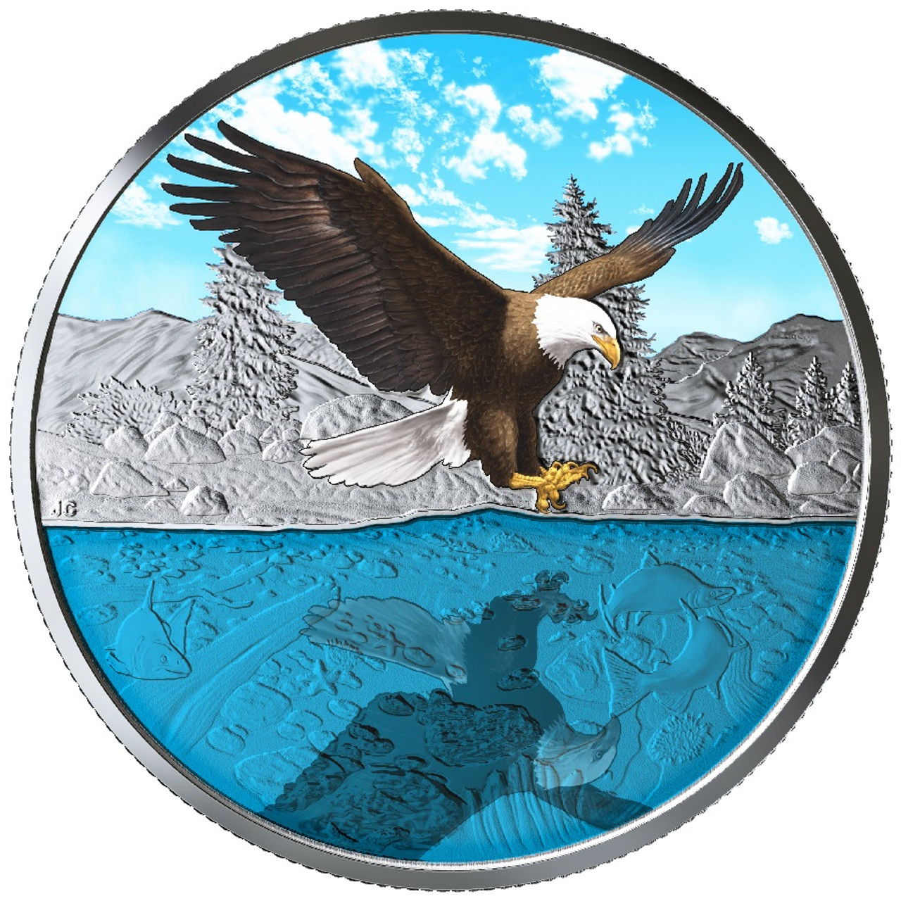 CANADA/'S WILDLIFE BALD EAGLE MAPLE LEAF 2019 1 oz Pure Silver Color Coin