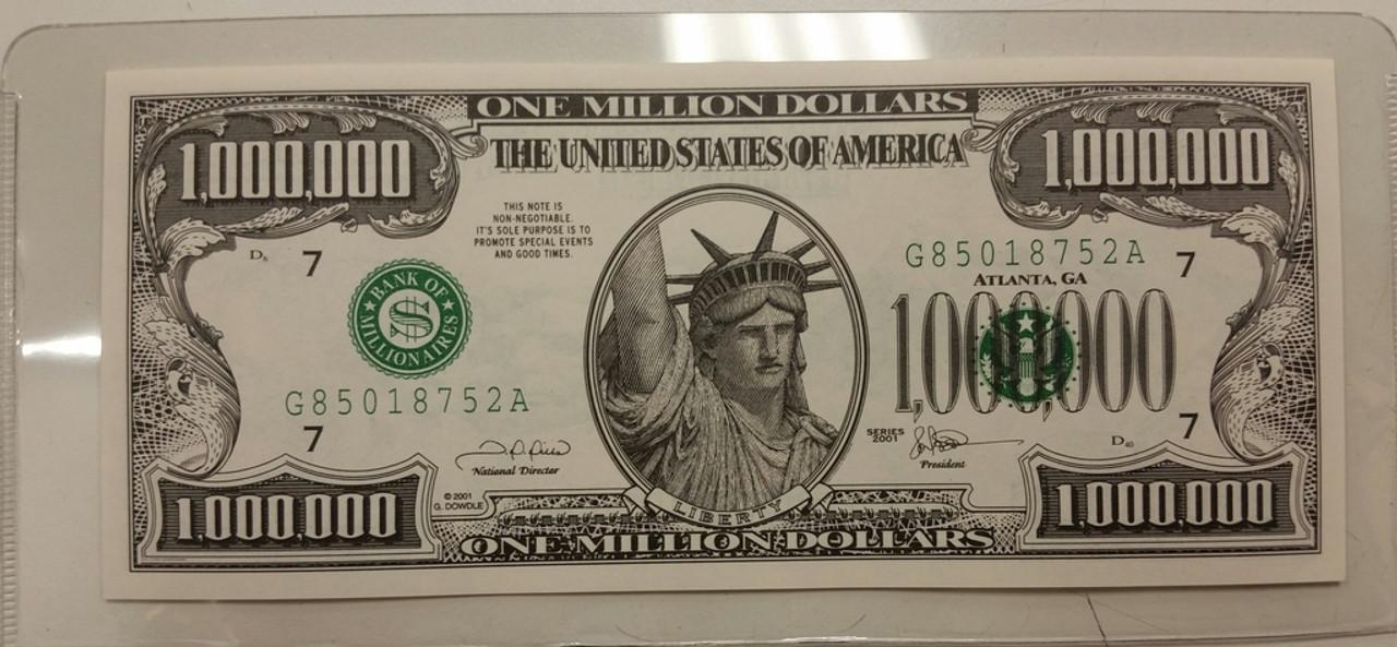 Novelty American United States 1000000 Million Dollar Bill Note Paper Money Gift