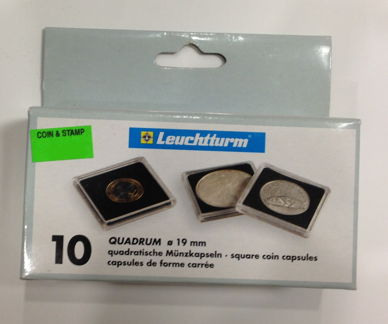 Pack Of 10 Lighthouse Quadrum 2x2 Coin Holders Capsules Size 19mm