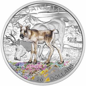 2016 $20 FINE SILVER COIN - BABY ANIMALS: CARIBOU