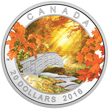2016 $20 FINE SILVER COIN AUTUMN TRANQUILITY
