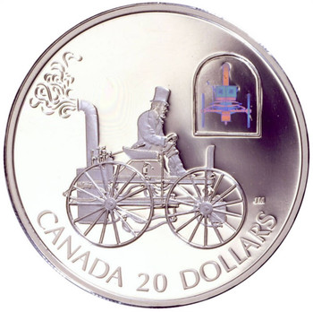 2000 $20 SILVER COIN - TRANSPORTATION CAR SERIES - HS TAYLOR STEAM BUGGY