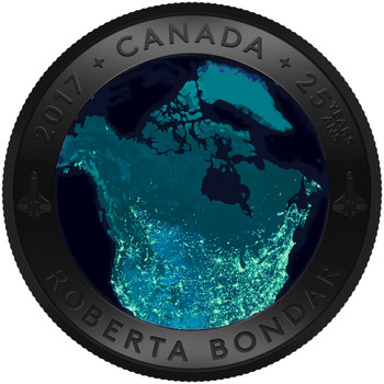 2017 $25 FINE SILVER COIN A VIEW OF CANADA FROM SPACE