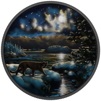 2017 $30 FINE SILVER COIN ANIMALS IN THE MOONLIGHT: COUGAR