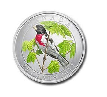 2012 25-CENT COLOURED COIN - ROSE-BREASTED GROSBEAK