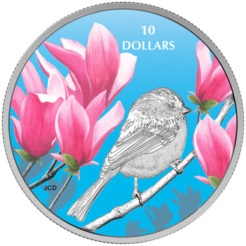 2017 $10 FINE SILVER COIN BIRDS AMONG NATURE'S COLOURS: CHICKADEE